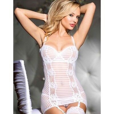 Babydoll Lingerie Chemise Bianco Sposa Pizzo Sexy Completino Intimo Donna