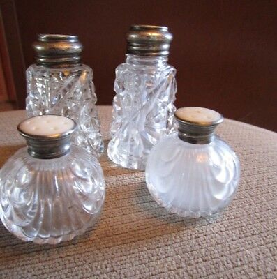 2 Sets Of Cut Crystal Glass Sterling Silver Mop Salt & Pepper Shakers