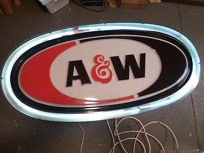 Large Vintage Neon A&W Root Beer Lighted Advertising Sign
