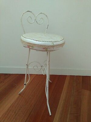 Vintage French Provincial Wrought Iron Bathroom Stool