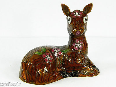 Vintage Chinese Cloisonne Copper Enamel Deer Fawn Statue Figurine,Floral
