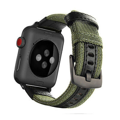 Canvas Nylon + Genuine Leather Watch band for Apple Watch 38mm 42mm Series 1 2 3