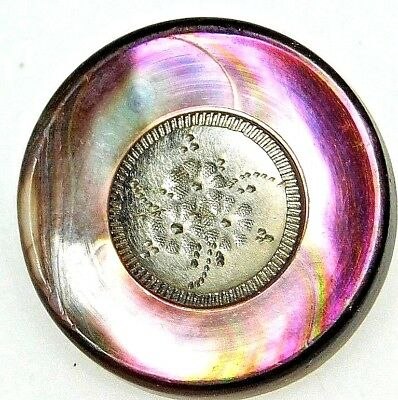 Antique Button INCISED White Metal Floral Cab set in PINK Abalone SHELL  7/8 #93
