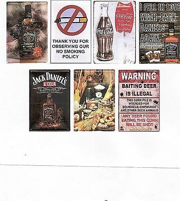 SEVEN (7) metal signs,man cave ,NO Smoking,deer baiting, Jack Daniels  (12-9-7)