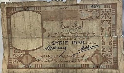 Banque De Syrie Et Du Grand Liban One Lira 1939. Condition Shown In Picture.