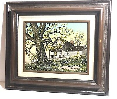H.Hargrove Frame Painting House Tree Flowers Vintage Collectors  8x10 Wall Art
