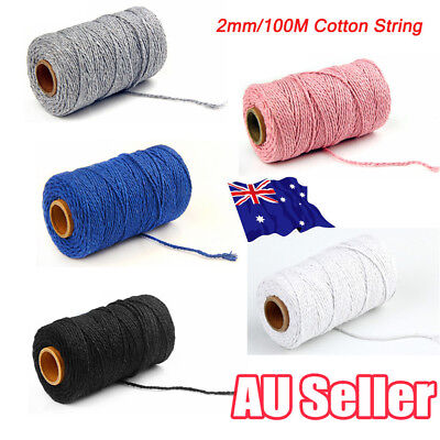 2MM Macrame Rustic Rope Colorful Cotton Twisted Cord String DIY Hand Craft HOT E