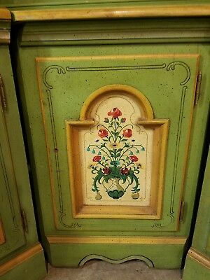Vintage green 5 Piece Dresser Set And corner Cabinet.