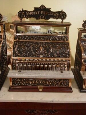 Nicely Restored WESTERN Cash Register with Cherubs & Original Top sign