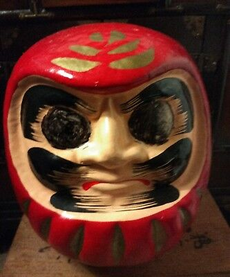 Vintage Hand-Painted Oriental Paper Mache Face Head Noh Theater Mask Style