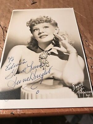 "June Knight Autograph, Film Actress In 1940s And 1950s, 3.75""x 5.25"""