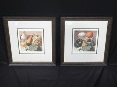 LF42654/55: Pair W. KING AMBLER Decorative Framed Fruit Prints ~ NEW