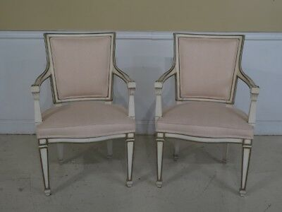 F42983: Pair KARGES French Louis XVI Style Painted Arm Chairs