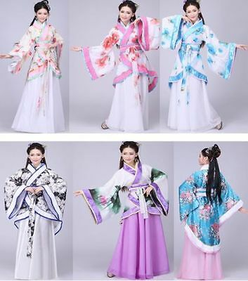 Chinese Women  Ancient Hanfu Suit Cosplay Long Sleeve Dress Tang Dynasty Costume
