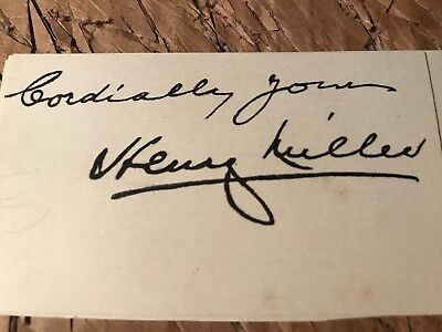 """Henry Miller Autograph, Author Of """"Tropic Of Cancer"""" & """"Tropic Of Capricorn """""""