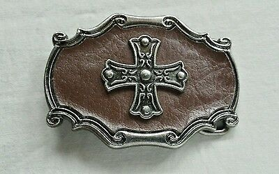 Decorative Cross Set On Brown Leather Belt Buckle