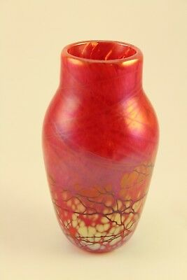 Vtg Elaine Hyde Studio Art Glass Iridescent Red Threaded Miniature Vase Signed