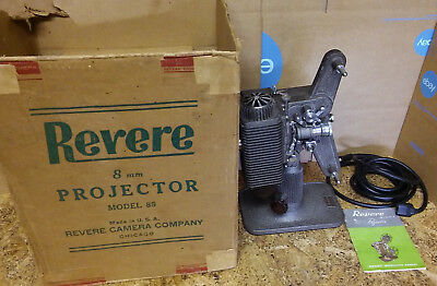 Vintage Revere Eight Model 85 8MM Film movie Projector & manual in original box