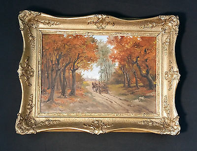 Nemeth Kassy (1888-1962) Hungarian Oil Painting Horse and Cart in the Autumn
