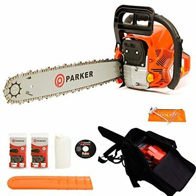 "62CC 20"" PETROL CHAINSAW + 2 x CHAINS - CARRY BAG - BAR COVER - TOOL KIT - START"