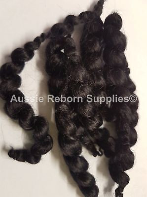 Black Curly Mohair for Reborn Baby Dolls 15gm ( Half Oz )
