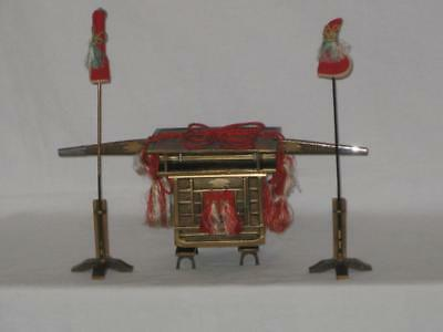 Vintage Japanese Miniature Hina Doll Black Lacquer Wooden Palanquin/Litter