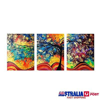 3PCS HD Framed Colorful Tree Canvas Print Painting Picture Home Wall Art Decor !