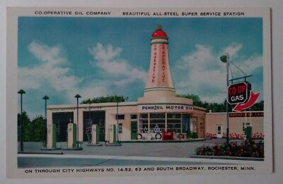 VTG PENNZOIL ALL STEEL-SUPER SERVICE GAS STATION POSTCARD/This one's a real GEM