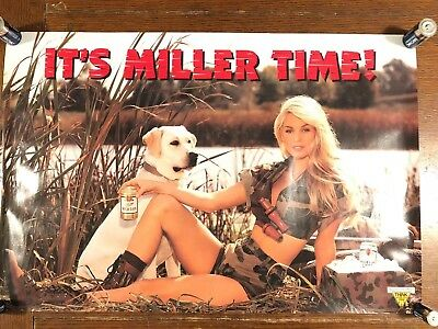 Miller Time Camo Girl Hunting Dog Beer Poster. Brand New! 30x20