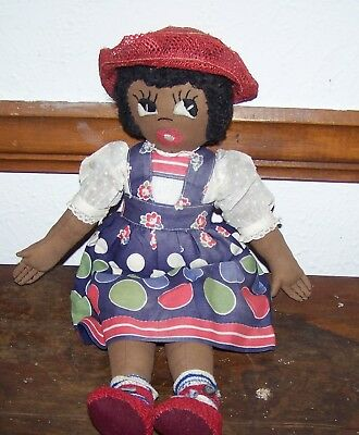 Vintage African American Black Rag Doll - Red Hat and Shoes
