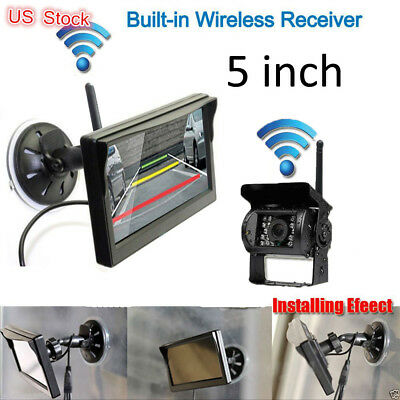 """HD 5"""" Monitor+Wireless Rear View Backup Camera Night Vision for RV Truck Bus HOT"""