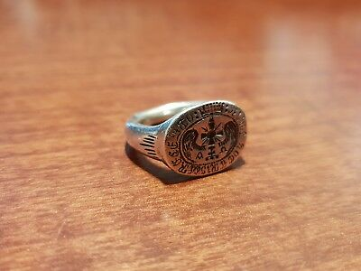 Antique Ring Silver Cross with Wings Latin