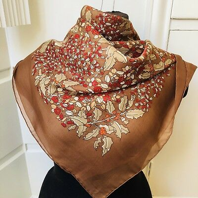 Lovely Vintage Bayron 100% Silk Holly Leaves Print Square Scarf -- fall colors