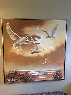 Large Oil Painting Seagulls~Birds~ Beach~Ocean~Water~Framed Mid Century Modern