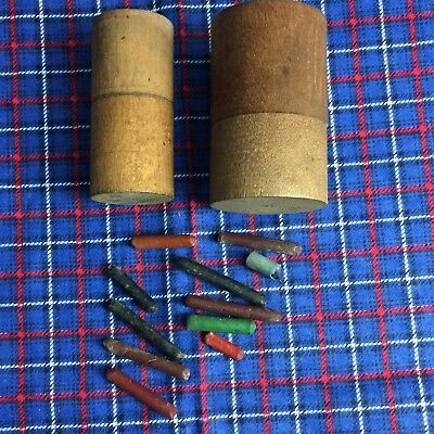 VINTAGE ANTIQUE MINIATURE SMALL WOODEN BOX ROUND NICE SHAKER 2 Boxes Crayons