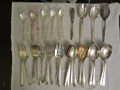28 Piece Vtg LOT SILVERPLATE FLATWARE Serving FORKS, SPOONS, ETC -Craft, Wedding