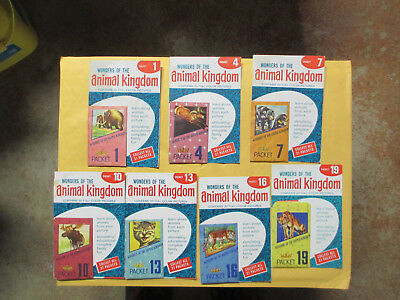 1959 Wonders Of The Animal Kingdom Picture Packets 1,4,7,10,13,16 + 19 Unopened
