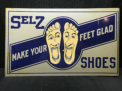 SELZ Shoes Doube Sided Tin Sign Make Your Feet Glad - Great Condition!