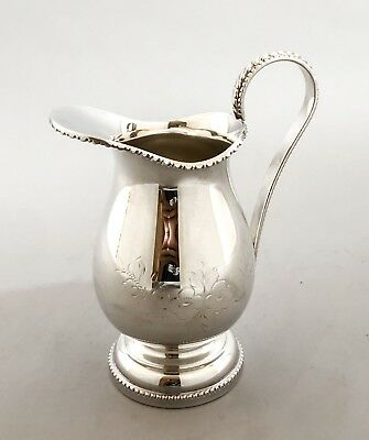 Vintage silver plate milk jug/ small wine pitcher hand-engraved floral beaded