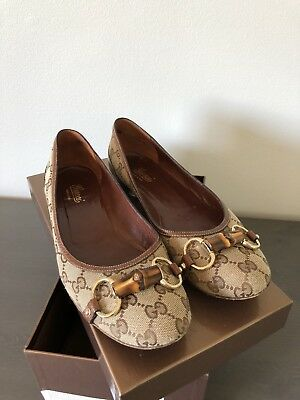 9563876f5390d1 Auth GUCCI Brown CANVAS LOGO GG BALLET Bamboo FLATS Shoes SIZE 9.5 B