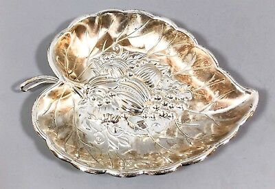 Vintage German silver plated decorative leaf bowl grapevine fruit embossed Quist