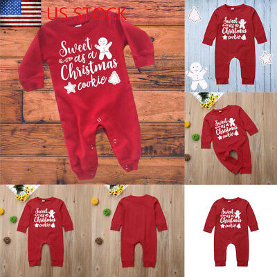 Christmas Newborn Baby Boy Girl Romper Bodysuit Jumpsuit Xmas Outfit Clothes Set