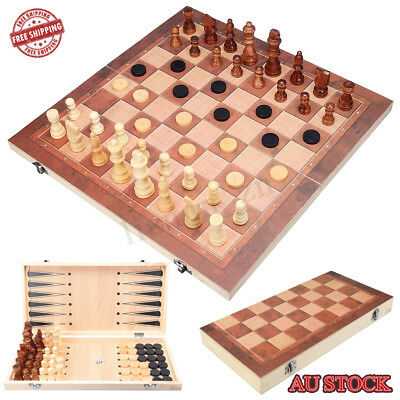 40*40cm 3in1 FOLDING WOODEN CHESS SET Board Game Checkers Backgammon Draughts AU