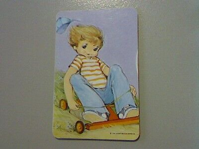1 Swap/Playing Card - Cute Little Boy on Billy Cart (Blank Back)