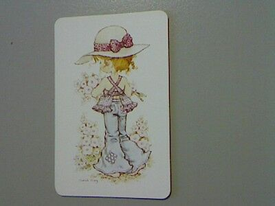 "1 Swap/Playing Card - Cute ""Sarah Kay""  Barefoot Girl with Flowers(Blank Back)"