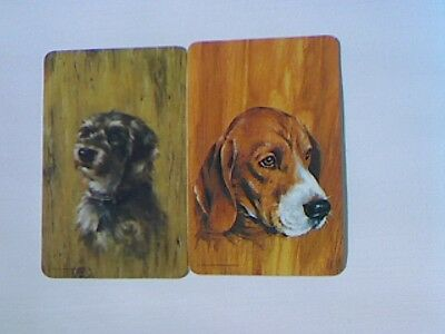 2 Swap/Playing Cards - Pair  Dog Heads Wood Grain Background (Blank Backs)#