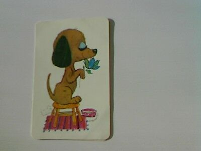 1 Swap/Playing Card - Cute Dog on Stool (Blank Back)