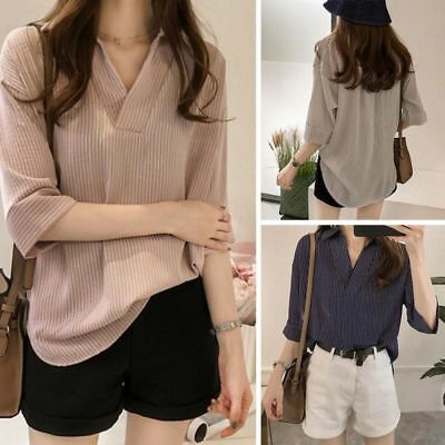 Fashion Women V Neck 3/4 Sleeve Striped Lapel Tops Loose Casual Tee Shirt Blouse
