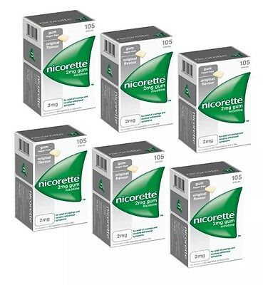 Nicorette Chewing Gum 2mg Original - 105 Pieces -PACK OF 6