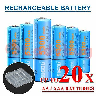 AA AAA Rechargeable Battery Recharge Batteries 4-20pcs 1.2V 5300mAh Ni-MH